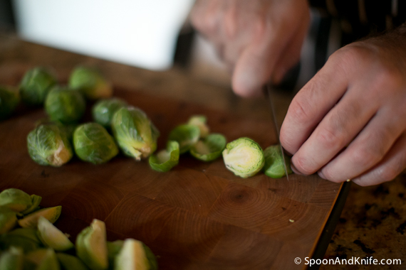 Cut down the Brussels Sprouts in to halves or quarters