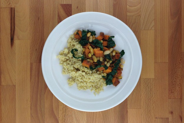 white bean, sweet potato & kale korma / toasted millet pilaf
