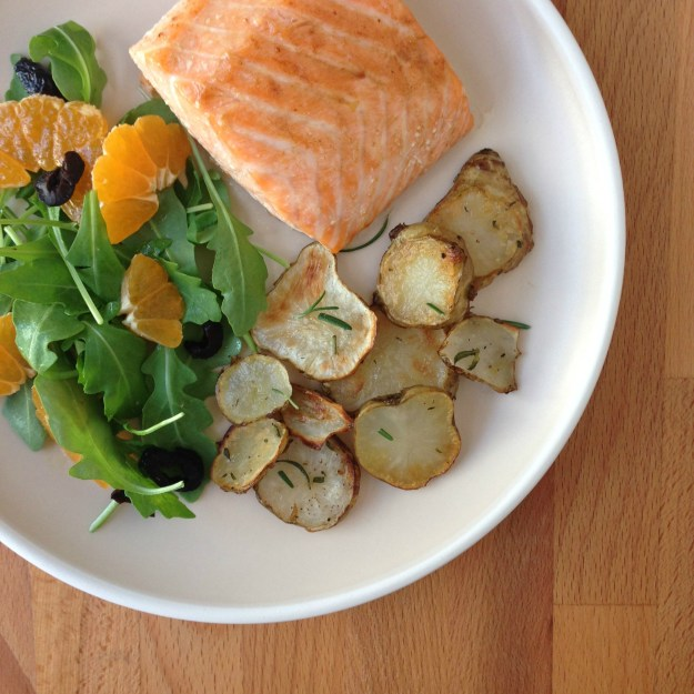 roasted salmon & sunchokes / salad with citrus & black olive