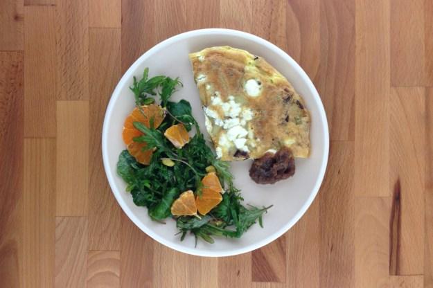 potato, leek & goat cheese frittata / smokey date jam / kale salad with citrus