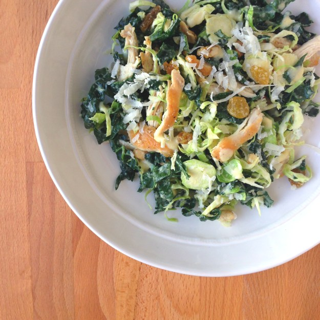 Chicken, Kale, and Brussels Sprout Salad