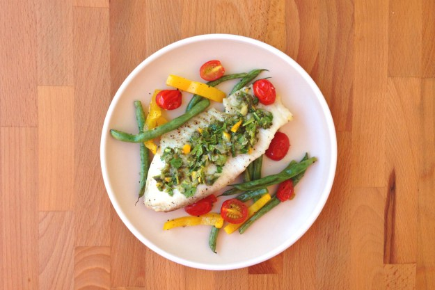 tilapia with lemon-caper relish / roasted tomatoes, green beans & peppers