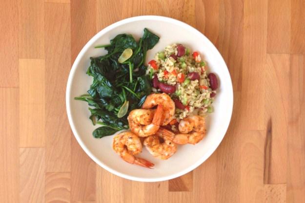 cajun shrimp / red beans & rice salad / garlic spinach