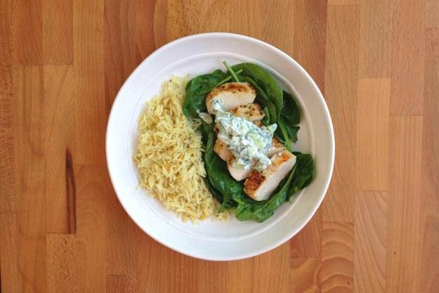greek chicken with tzatziki / rice pilaf / spinach salad
