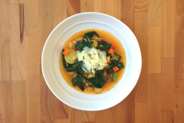 smoky white bean soup with potato & mustard greens