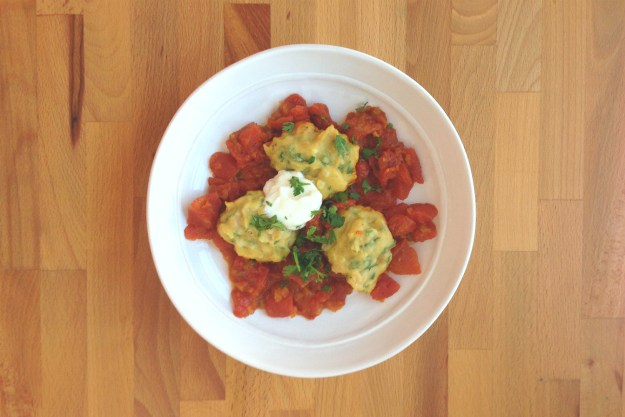 chickpea dumplings in curried tomato sauce / salad with indian-spiced vinaigrette