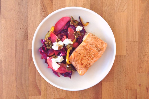 salmon & cider-glazed peppers / wilted cabbage with goat cheese & pepita brittle