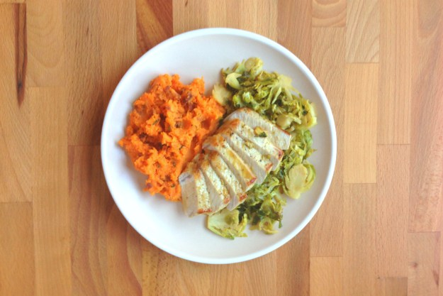 seared pork / lemon-caper braised brussels sprouts / rosemary smashed sweet potato
