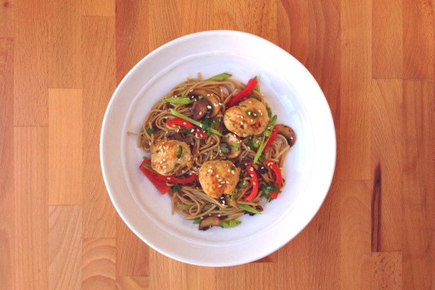 braised asian chicken meatballs / snowpeas & mushrooms / soba noodles