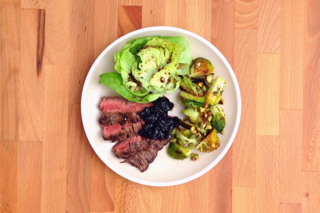 flank steak with cherry compote / brussels sprouts with pistachio / salad
