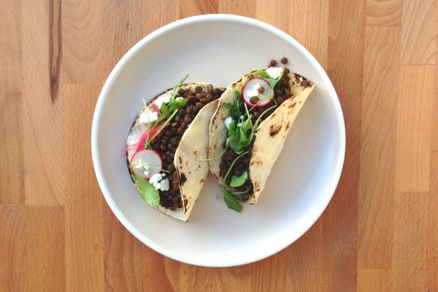 chorizo-spiced lentil tacos / arugula & radish salad / corn tortillas