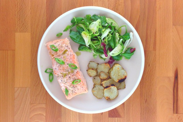 ginger-steamed salmon with green tea salt / shaved brussels salad / sunchokes