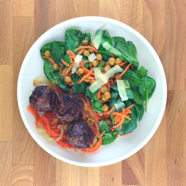 chistorra-spiced meatballs / onion & peppers / spinach salad with toasted chickpeas