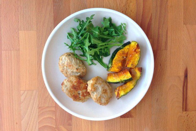 turkey kefta / roasted squash with maple, chili & tahini / rice pilaf