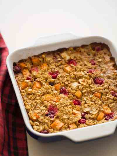 Persimmon & Cranberry Baked Oatmeal Spoon Fork Bacon