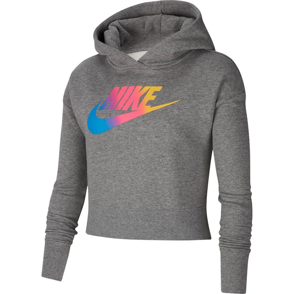 Nike Hoodie Carbon Heather Nike Sportswear Cropped Hoodie Kids Carbon Heather White