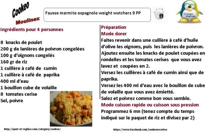 recettes cookeo fausse marmite espagnole weight watchers. Black Bedroom Furniture Sets. Home Design Ideas
