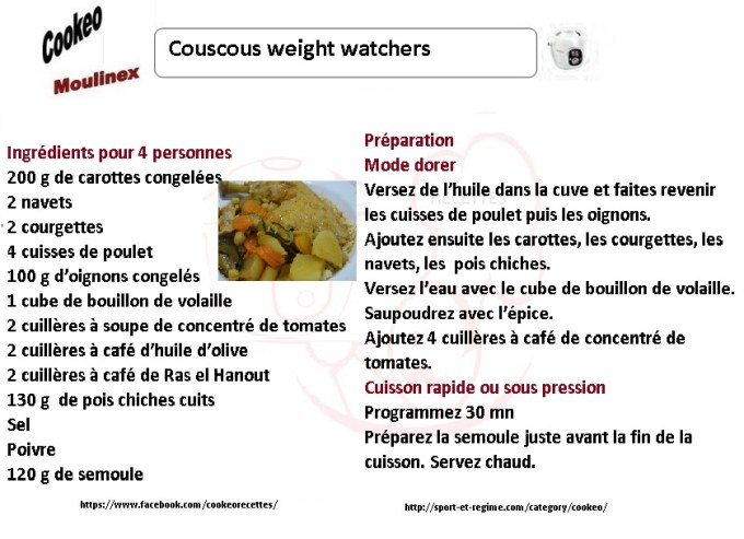 Couscous weight watchers recette cookeo - Cookeo cuisson sous pression ...