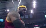 LeBron James getting ready for a game