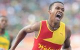 Jaheel Hyde of Wolmer's High celebrates at Champs