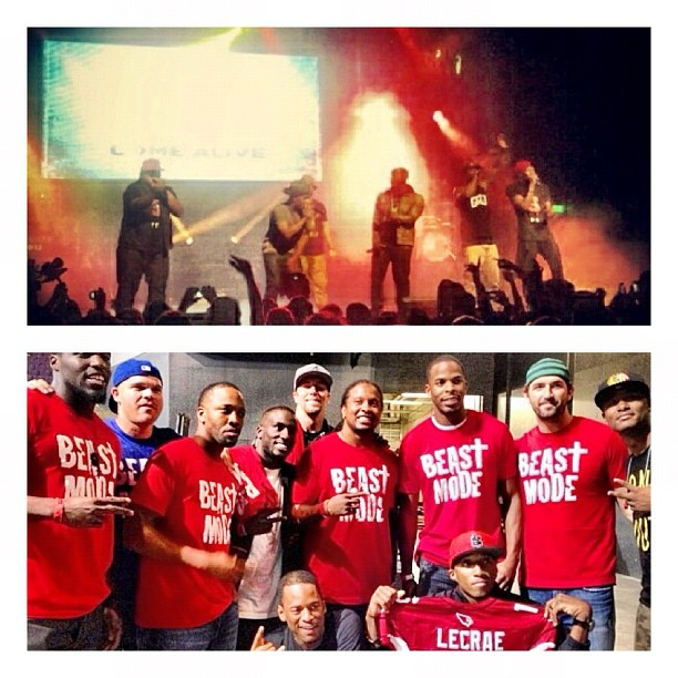 Members of the Arizona Cardinals presented Lecrae with a jersey after a Phoenix concert