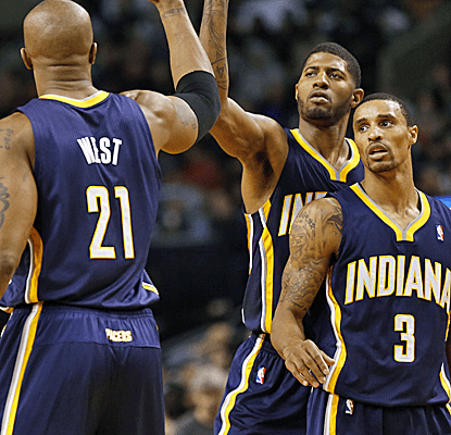 The pacers get 27 points from paul george in erasing an eight point