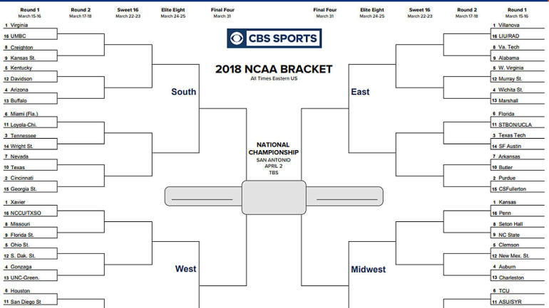 NCAA bracket 2018 Printable March Madness tournament bracket, seeds