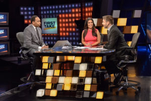 Bristol, CT - July 25, 2016 - Studio E: Stephen A. Smith (l), Molly Qerim and Max Kellerman on the set of First Take (Photo by Nick Caito / ESPN Images)