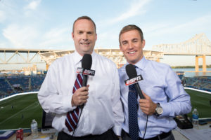 Chester, PA - July 25, 2012 - PPL Park: (L to R) ESPN's Adrian Healey and Taylor Twellman reporting from the 2012 MLS All-Star Game (Photo by Phil Ellsworth / ESPN Images).- RAW FILE AVAILABLE -.- 20120725_PE2_0957.jpg -