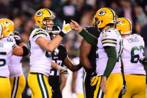 Philadelphia, PA - November 28, 2016 - Lincoln Financial Field: Jordy Nelson (87) and Aaron Rodgers (12) of the Green Bay Packers during a regular season Monday Night Football game (Photo by Phil Ellsworth / ESPN Images)