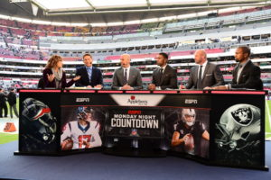 Mexico City, Mexico - November 21, 2016 - Estadio Azteca: Suzy Kolber, Steve Young, Matt Hasselbeck, Randy Moss, Trent Dilfer and Charles Woodson on the set of Monday Night Countdown (Photo by Scott Clarke / ESPN Images)