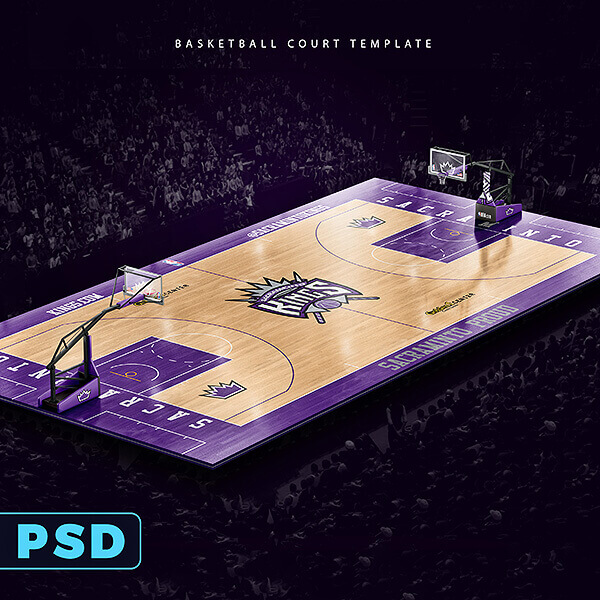 Basketball Full Court Template Mockup \u2013 Sports Templates