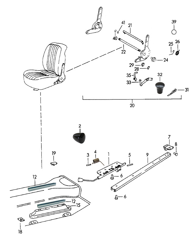 Sportwagen Eckert - handle for seat regulation for Porsche 356 B/C
