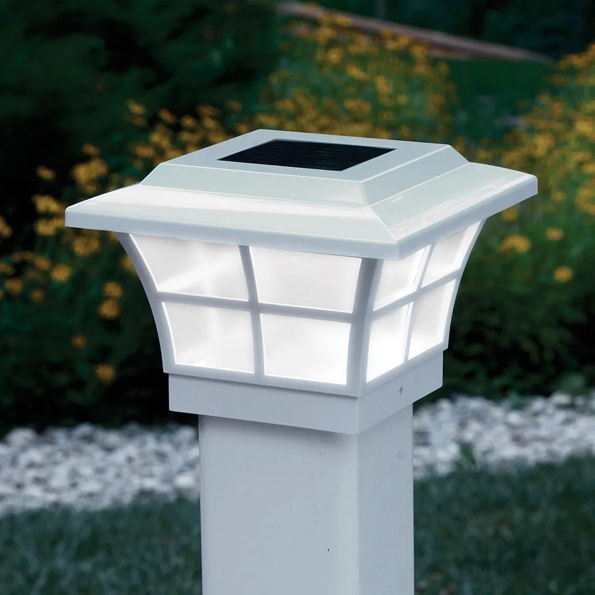 Unique Post Lights Prestige Solar Lighted Post Caps White From Sporty 39s