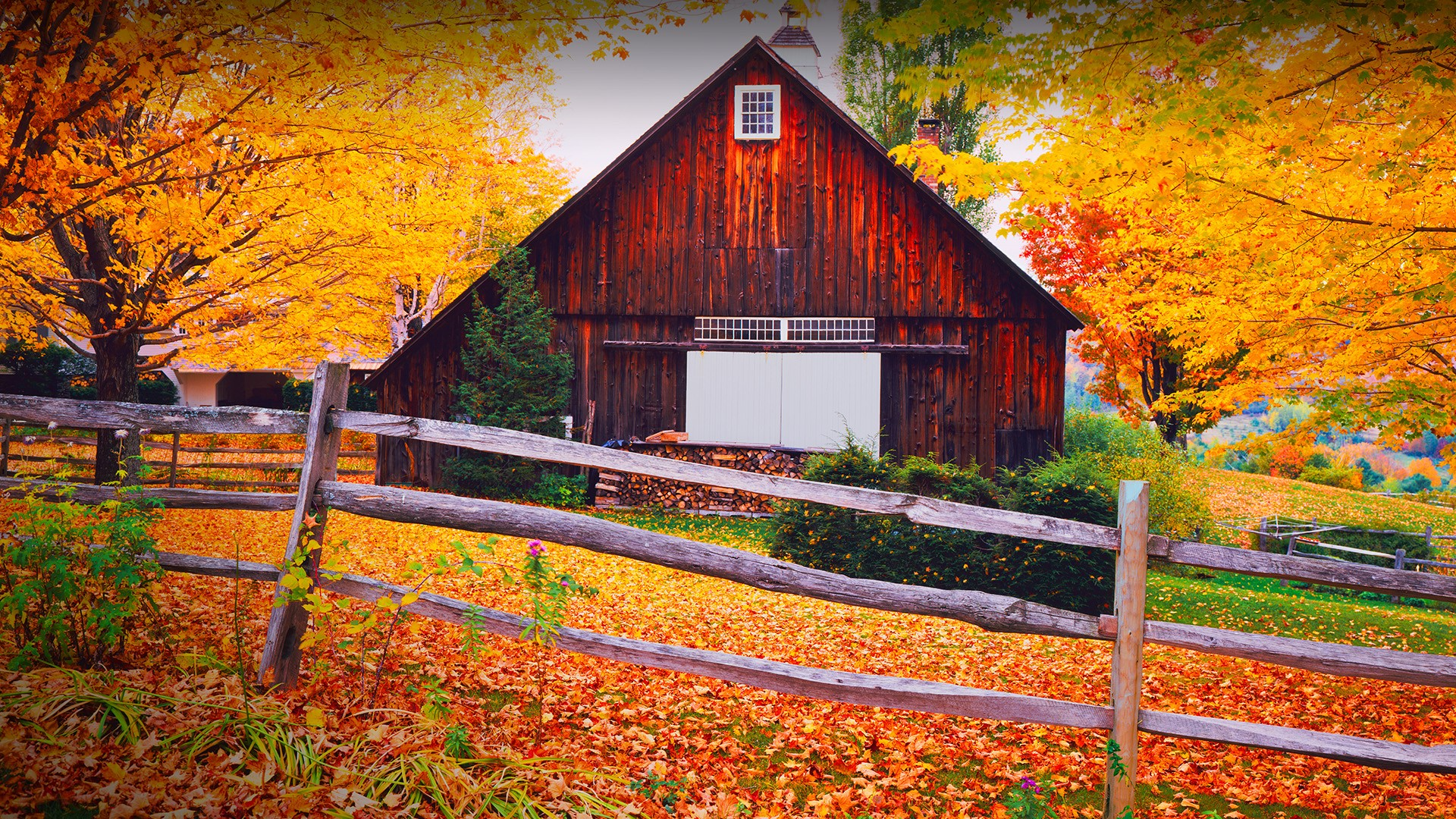 Fall Vermont Wallpaper Autumn Country Side In The Hills Above Woodstock Vermont