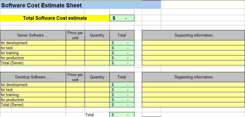 price estimate template