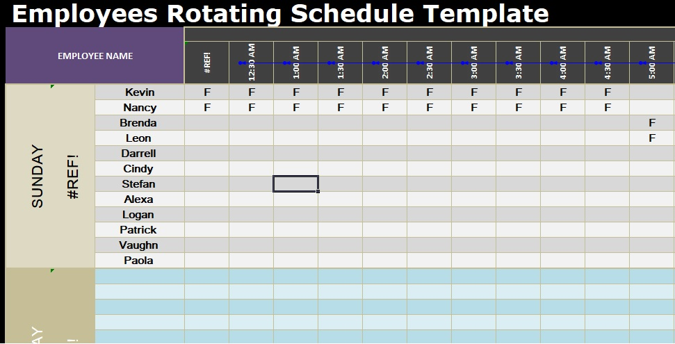 Employees Rotating Schedule Template SpreadsheetTemple