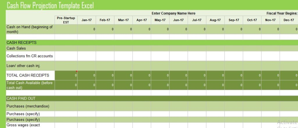 Cash Flow Projection Template Excel SpreadsheetTemple