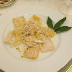 Pumpkin ravioli with ricotta and nuts
