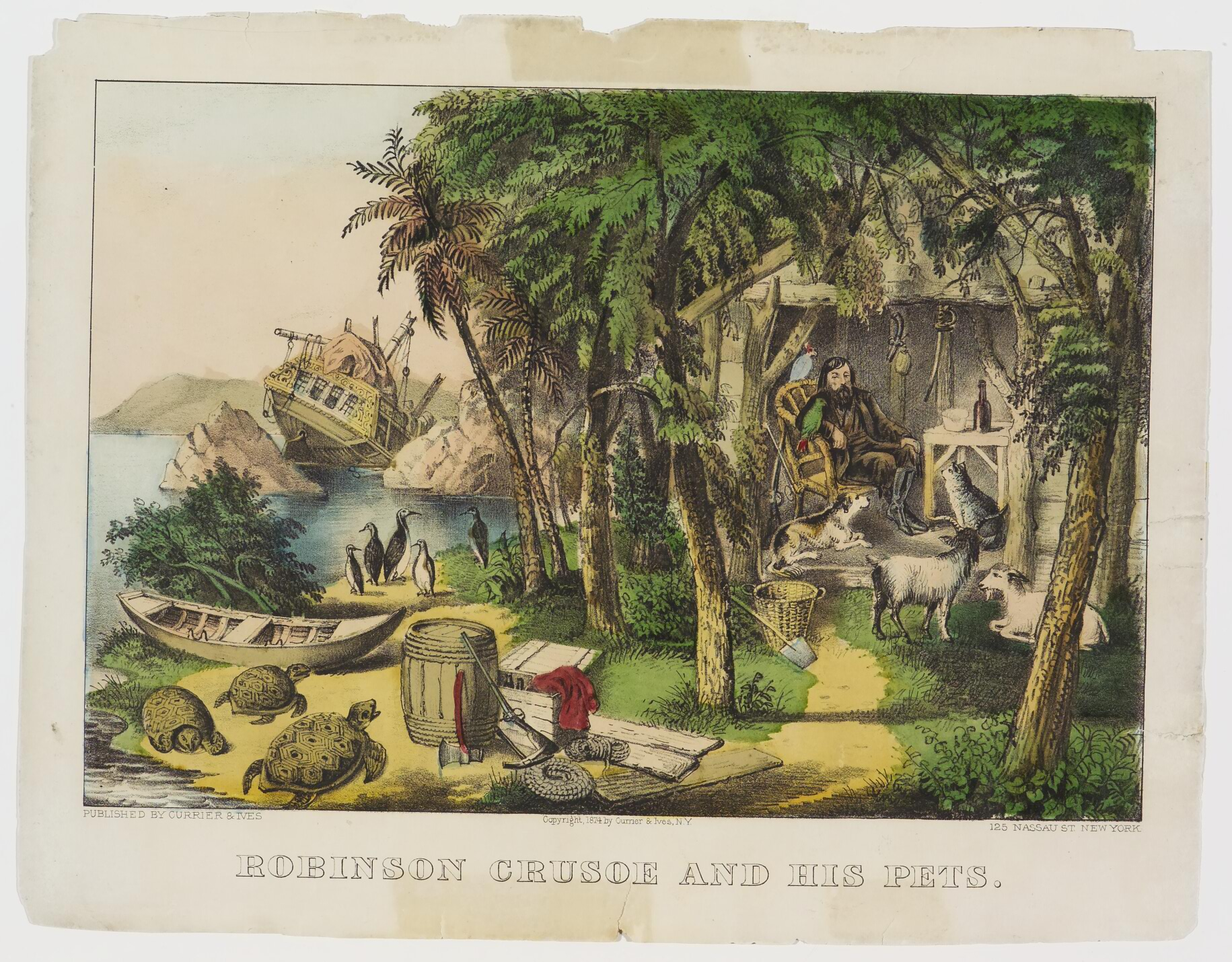 Robinson Crusoe Robinson Crusoe And His Pets Currier Ives Springfield Museums