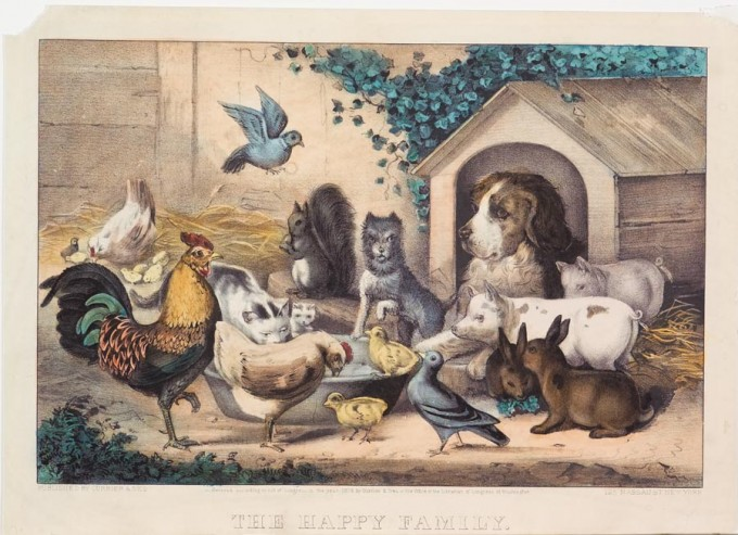 Domestic Animals Wallpaper The Happy Family Currier Amp Ives Springfield Museums