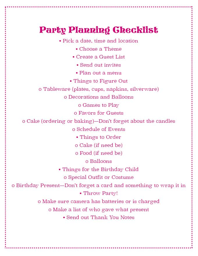 Party Planning Checklist! - Sprinkle Some Fun - party planning schedule
