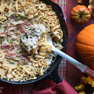 Green Bean Casserole Skillet with Caramelized Onions and Bacon
