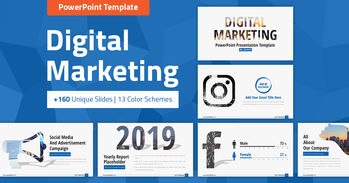 Digital Marketing and Social Media PPT Pitch Deck - SpriteIT