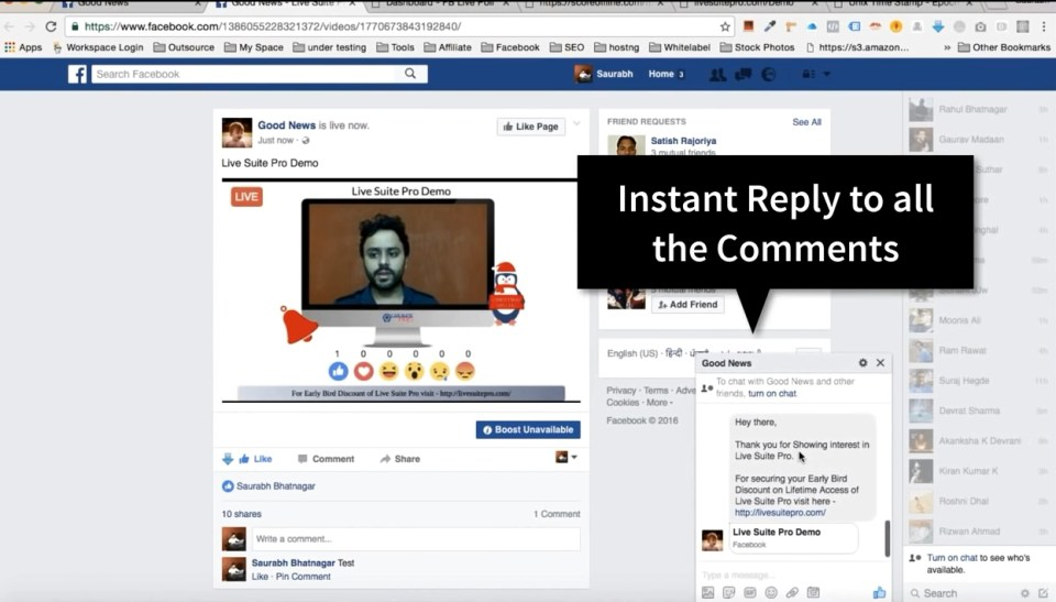 Send Auto Messages to people who comment