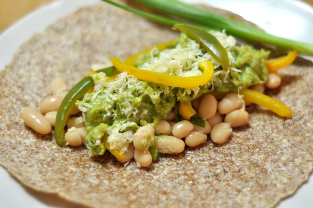 White Bean Burritos on Ezekiel Tortillas/></p> <p style=