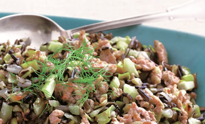 Sausage, Fennel, and Leek Wild Rice Pilaf Atkins Diet recipe.