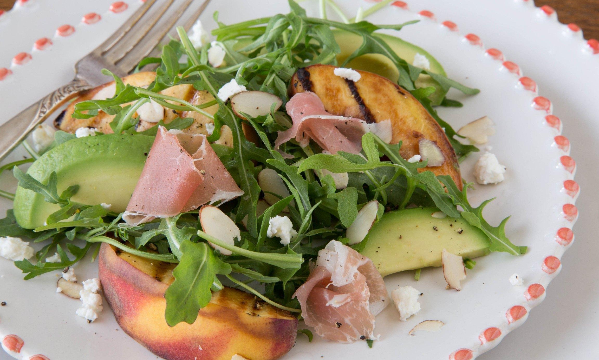Grilled Peach & Arugula Salad with Mustard Herb Vinaigrette