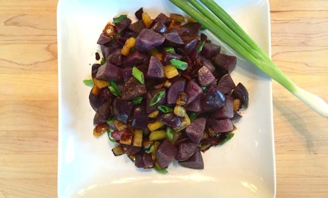 Purple Potato Hash with Bacon