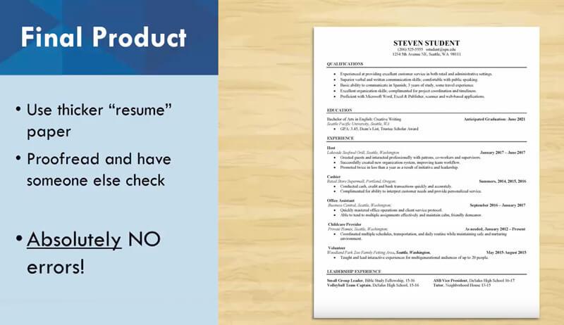 Résumés and CVs - Seattle Pacific University